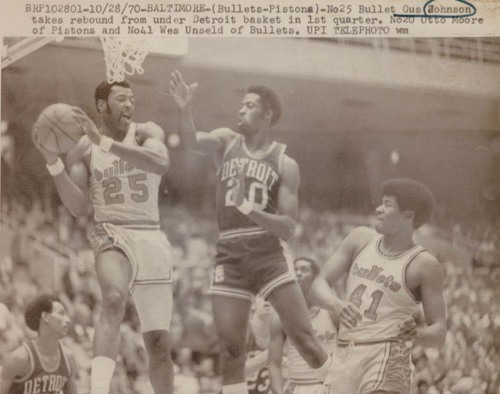 Bullets 70-71 Home Gus Johnson, Pistons 10-28-1970