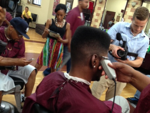 Nerlens at the barbershop.