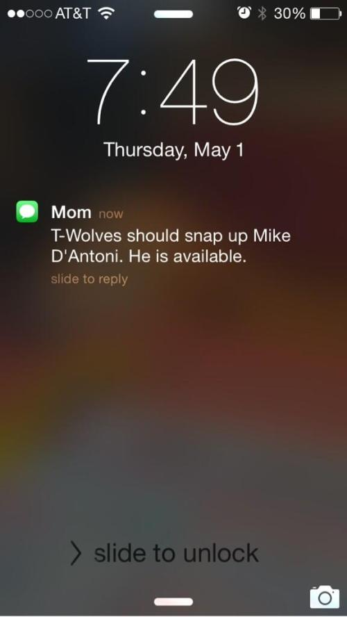 Andy G's mom likes Mike D'Antoni.